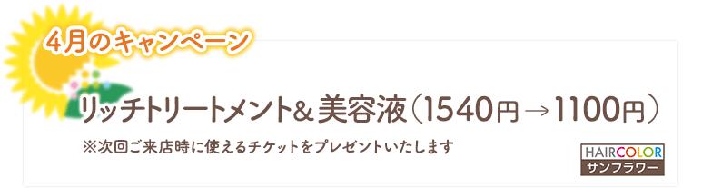2021年4月のキャンペーン/リッチトリートメント&美容液(1540円→1100円)