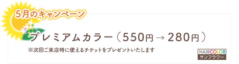 2021年5月のキャンペーン/プレミアムカラー(550円→280円)